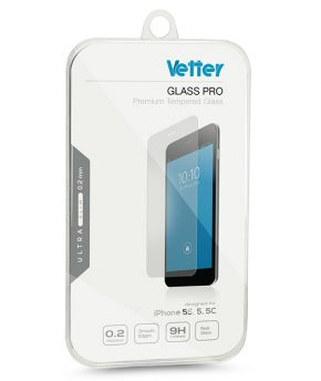 iPhone 5s, 5, 5c Vetter Ultra Slim 0.2mm Tempered Glass Pro