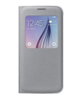 Husa originala Samsung Galaxy S6 S View Cover Fabric Silver