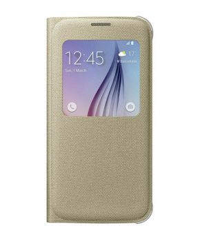 Husa originala Samsung Galaxy S6 G920 S-View Cover Fabric Gold