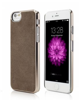 Husa iPhone 6 Clip-On Suede Leather Series gold