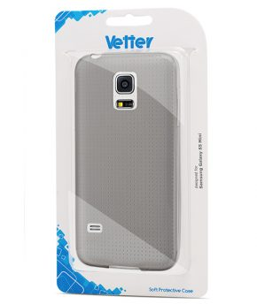 Husa Galaxy S5 Mini Vetter Soft Pro Crystal Series transparenta neagra