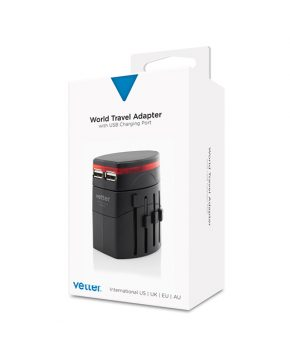 World Travel Adapter With Dual USB Charger Black
